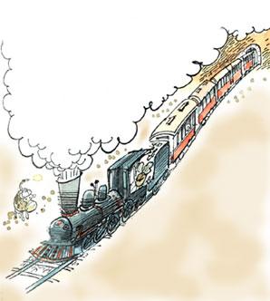 Imagen de una locomotora de vapor