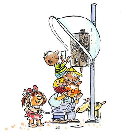 Imagen de un teléfono público y unos niños