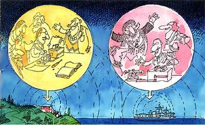 Imagen de la comunicación de un barco a otro