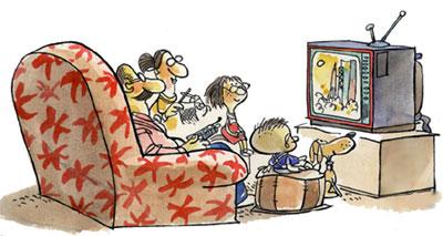 Imagen de una familia mirando el televisor