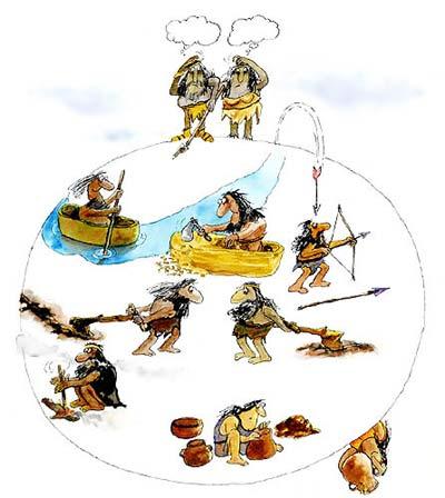 Imagen de hombres de la prehistoria