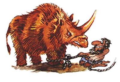 Imagen de un hombre atrapando un rinoceronte