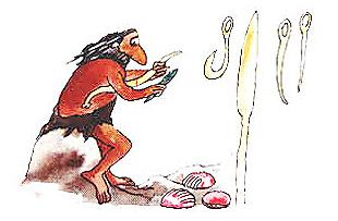 Imagen de un hombre fabricando anzuelos, arpones y agujas
