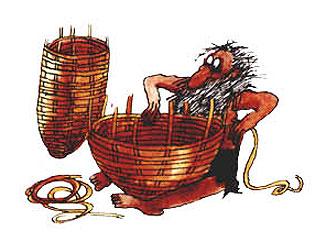 Imagen de un hombre tejiendo una cesta
