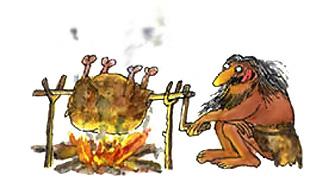 Imagen de un hombre cociendo su carne