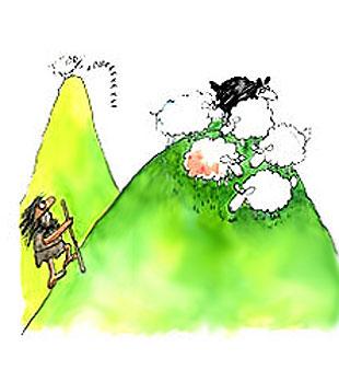 Imagen de un hombre pastor con sus ovejas