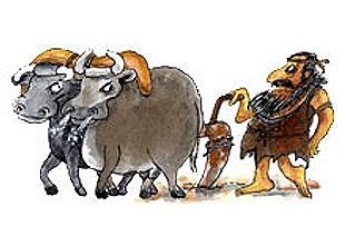 Imagen de un hombre con sus animales de arado