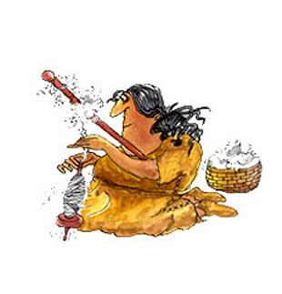 Imagen de una mujer utilizando el huso