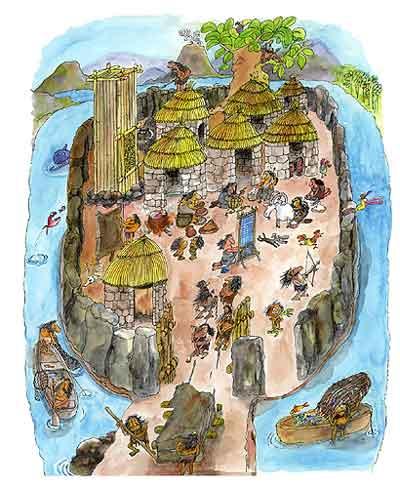 Imagen de las casas donde habitaba el hombre