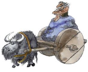 Imagen  de un carro de dos ruedas de madera maciza