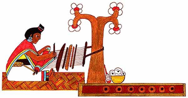 Imagen de una mujer tejiendo